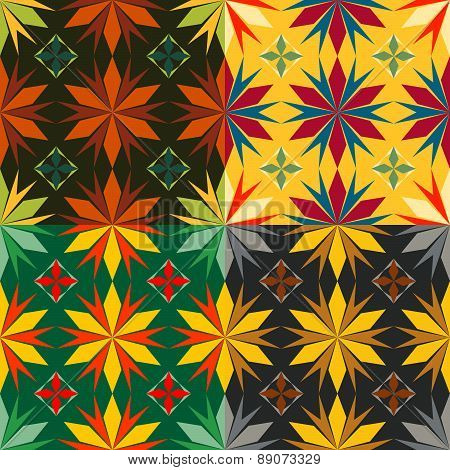 Set Of Four Color Abstract Star Seamless Vector Patterns