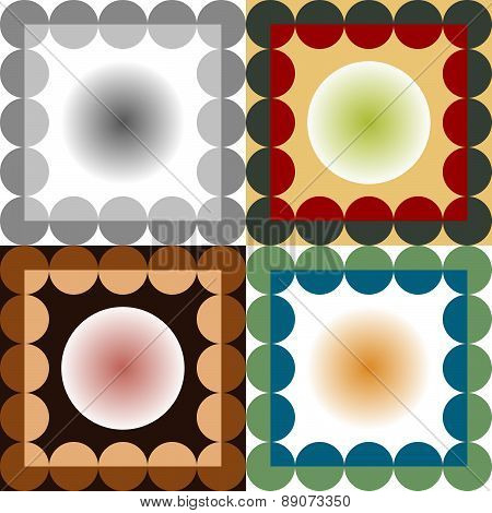 Set Of Four Color Abstract Circles Seamless Vector Patterns
