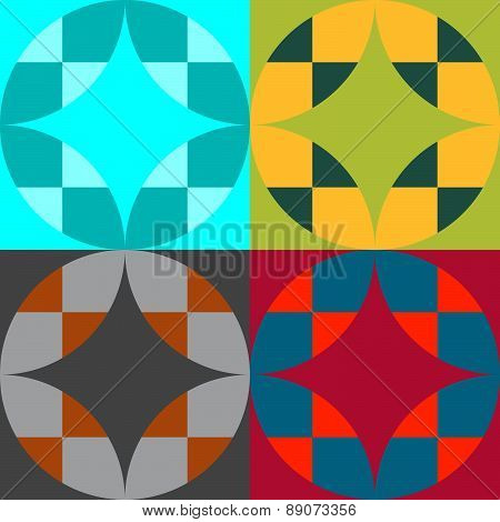 Set Of Four Color Abstract Seamless Vector Patterns