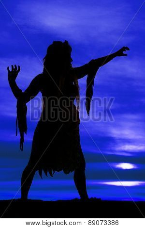 Silhouette Of A Woman Reach Out Claw