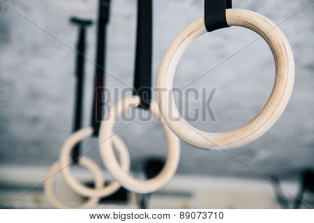 Closeup image of a fitness rings in gym