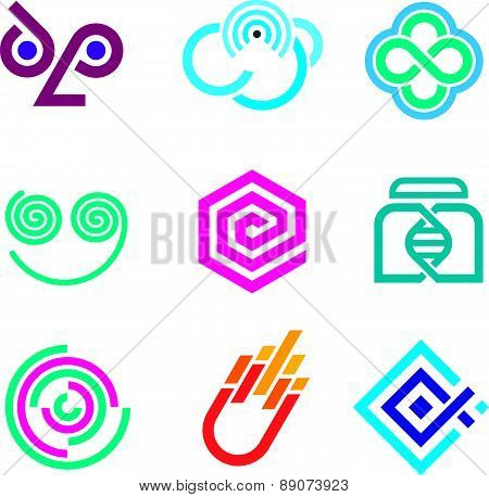 Innovative colorful social network science set of icons and outline symbols
