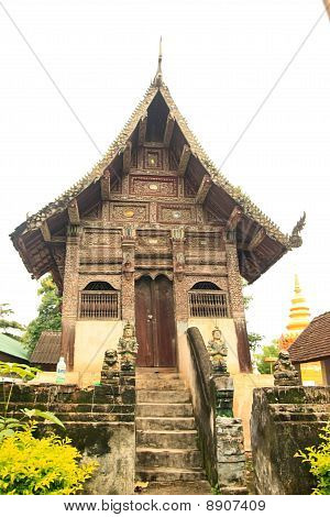 Old Wood Church , Wat Ubosot Chiang Mai Thailand