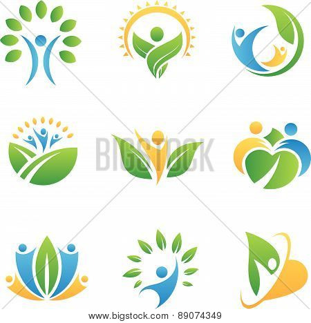 people in nature icons and logos