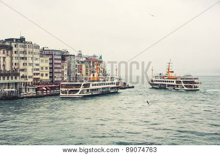 Ships In Istanbul At Galata Pier