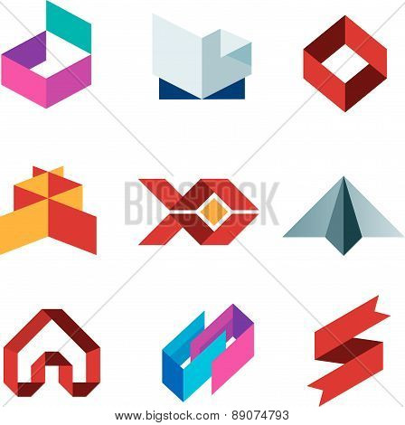 Business creative beauty icon set paper like objects