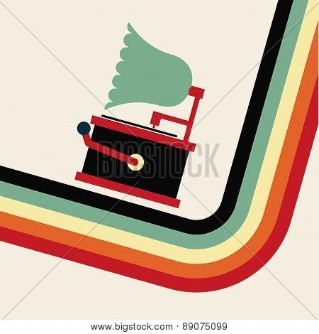 gramophone retro design over white background vector illustratio