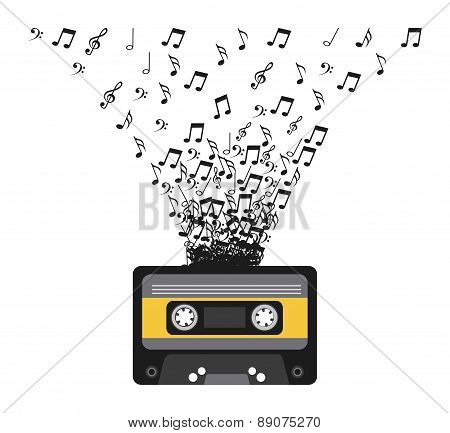 Cassette with musical notes vector illustration