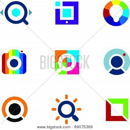 Explore fun colorful world social internet community network logo icon