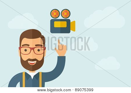 A Man pointing the film strip icon. A contemporary style with pastel palette, light blue cloudy sky background. Vector flat design illustration. Horizontal layout with text space on right part.