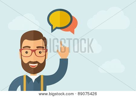 A Man pointing the two speech bubbles icon. A contemporary style with pastel palette, light blue cloudy sky background. Vector flat design illustration. Horizontal layout with text space on right part