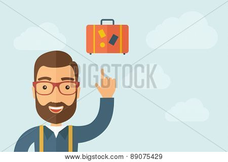 A Man pointing the retro luggage icon. A contemporary style with pastel palette, light blue cloudy sky background. Vector flat design illustration. Horizontal layout with text space on right part.