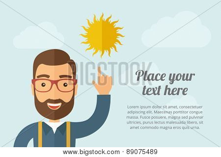 A Man pointing the sun icon. A contemporary style with pastel palette, light blue cloudy sky background. Vector flat design illustration. Horizontal layout with text space on right part.