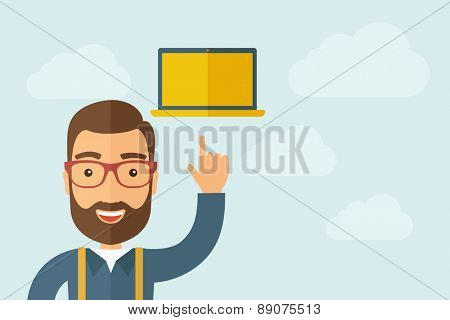 A Man pointing the monitor icon. A contemporary style with pastel palette, light blue cloudy sky background. Vector flat design illustration. Horizontal layout with text space on right part.
