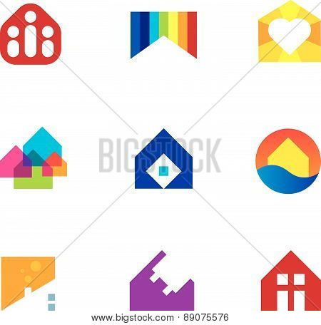 Real estate building construction home monument with passion logo icon