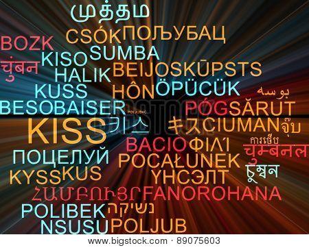 Background concept wordcloud multilanguage international many language illustration of kiss glowing light