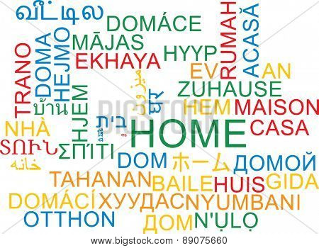 Background concept wordcloud multilanguage international many language illustration of home