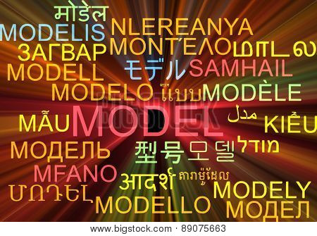 Background concept wordcloud multilanguage international many language illustration of model glowing light