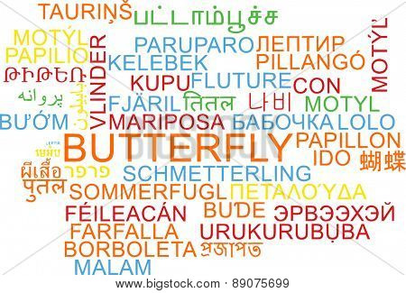 Background concept wordcloud multilanguage international many language illustration of butterfly