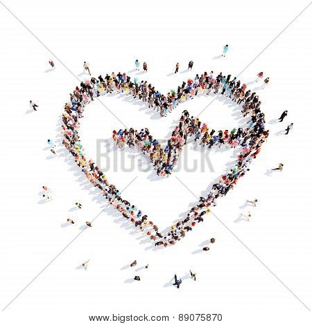 People in the form of hearts.
