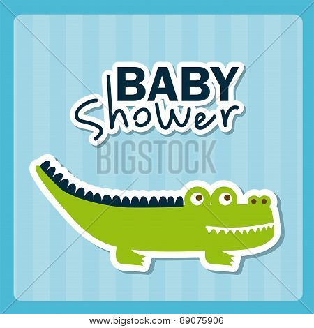Baby shower Card with crocodile on blue background