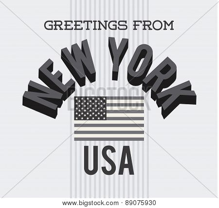 New York postal with black and white colors vector illustration
