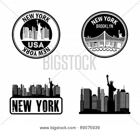 New York stamps on whiate background vector illustration