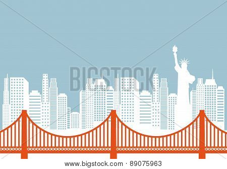 New york bridge with statue of liberty on background