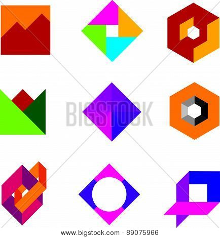 Quality geometric base logo art design abstract polygon icon set
