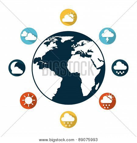 Weather icons around the world icon vector illustration
