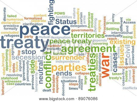 Background text pattern concept wordcloud illustration of peace treaty