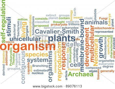 Background text pattern concept wordcloud illustration of organism
