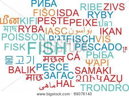 Background concept wordcloud multilanguage international many language illustration of fish