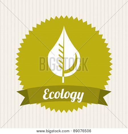 Leaf icon over beige background Vector Illustration
