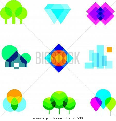 Transparent city logo landscape beauty mosaic geometric icon set