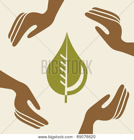 ecology and protection icon over beige background Vector Illustr