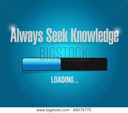 Always Seek Knowledge Loading Bar Sign Concept