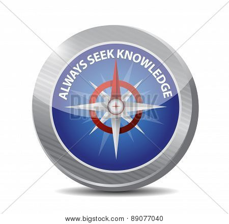 Always Seek Knowledge Compass Sign Concept