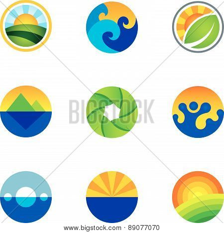 Force of nature beautiful circle landscape background logo icons set