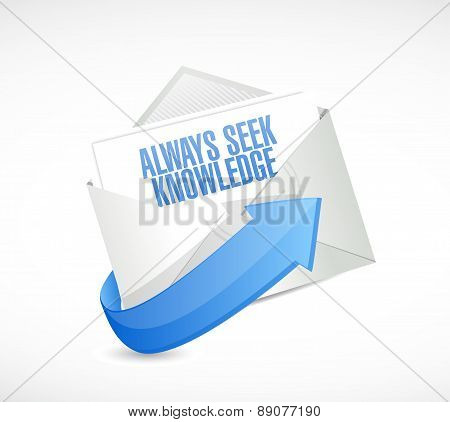 Always Seek Knowledge Mail Sign Concept