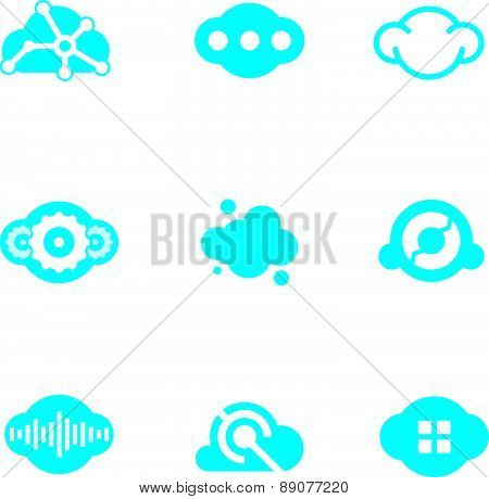 Cloud blue technology of future science application design logo icons