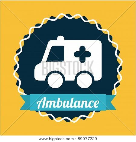 ambulance catoon with silhouette icons vector illustration