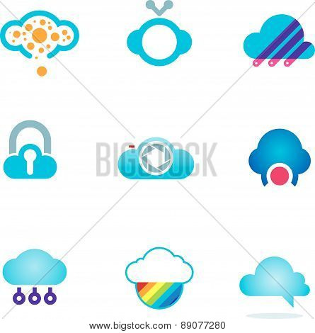 Futuristic cloud software technology app for mobile phones logo icons