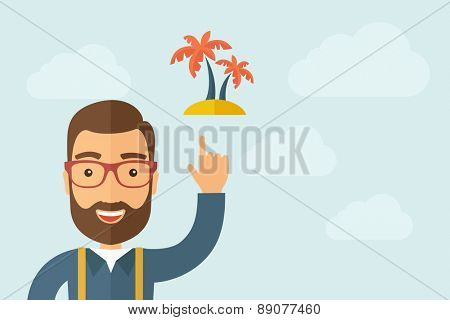 A Man pointing the 2 palm trees icon. A contemporary style with pastel palette, light blue cloudy sky background. Vector flat design illustration. Horizontal layout with text space on right part.