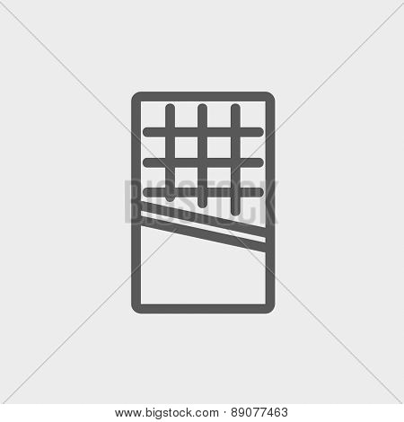 Waffle icon thin line for web and mobile, modern minimalistic flat design.  Vector dark grey icon on light grey background.