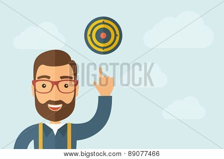 A Man pointing the target pad icon. A contemporary style with pastel palette, light blue cloudy sky background. Vector flat design illustration. Horizontal layout with text space on right part.