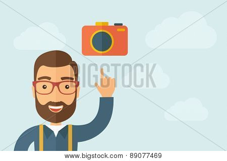A man pointing the camera icon. A contemporary style with pastel palette, light blue cloudy sky background. Vector flat design illustration. Horizontal layout with text space on right part.