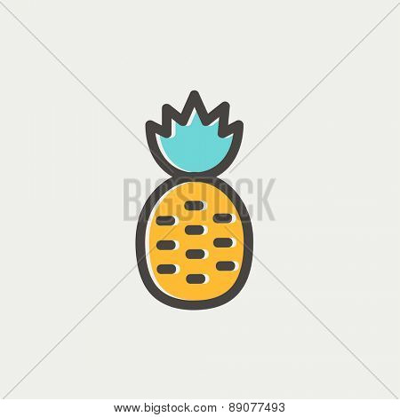 Pineapple icon thin line for web and mobile, modern minimalistic flat design. Vector icon with dark grey outline and offset colour on light grey background.