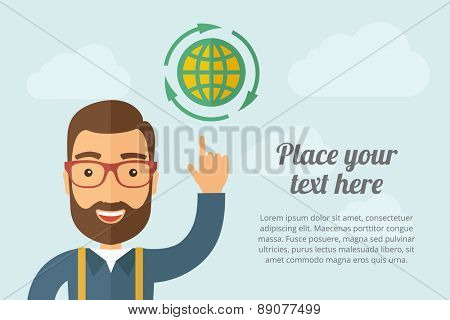 A Man pointing the global icon. A contemporary style with pastel palette, light blue cloudy sky background. Vector flat design illustration. Horizontal layout with text space on right part.