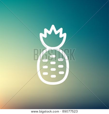 Pineapple icon thin line for web and mobile, modern minimalistic flat design. Vector white icon on gradient mesh background.
